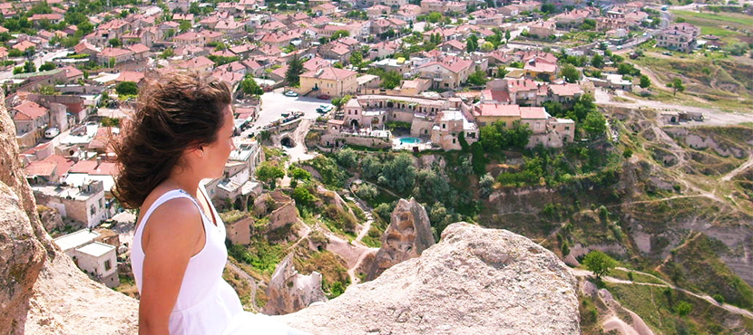 Student looking over city on Study Abroad trip