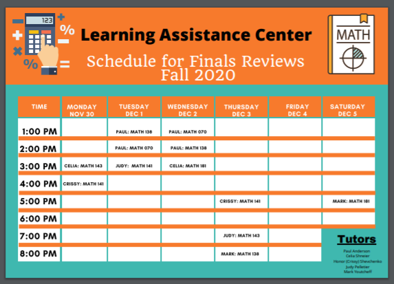 Schedule for Finals Reviews - Fall 2020