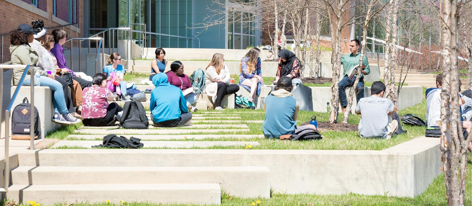 Students having class outside.