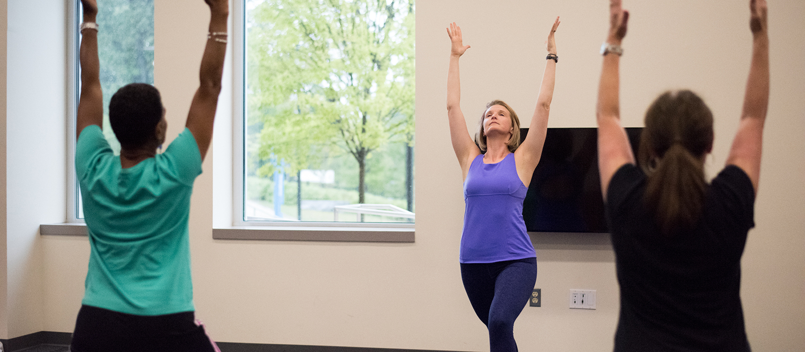 A wellness yoga class at HCC.
