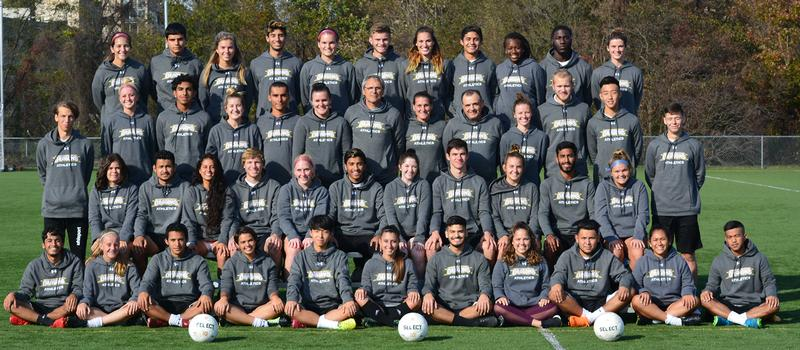 A photo of both the men's and women's soccer team.