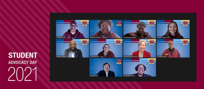 image of students, staff, and legislators on a Zoom call.