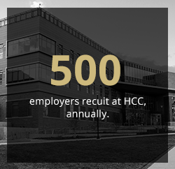 500 employers recruit at HCC, annually.