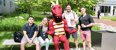 Students with Duncan the Dragon.