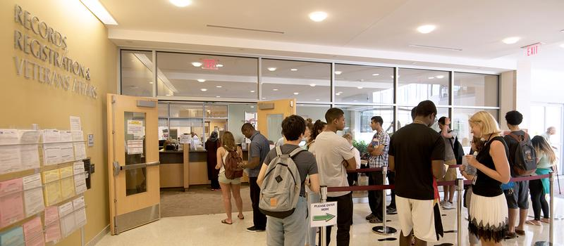 Students registering for classes.