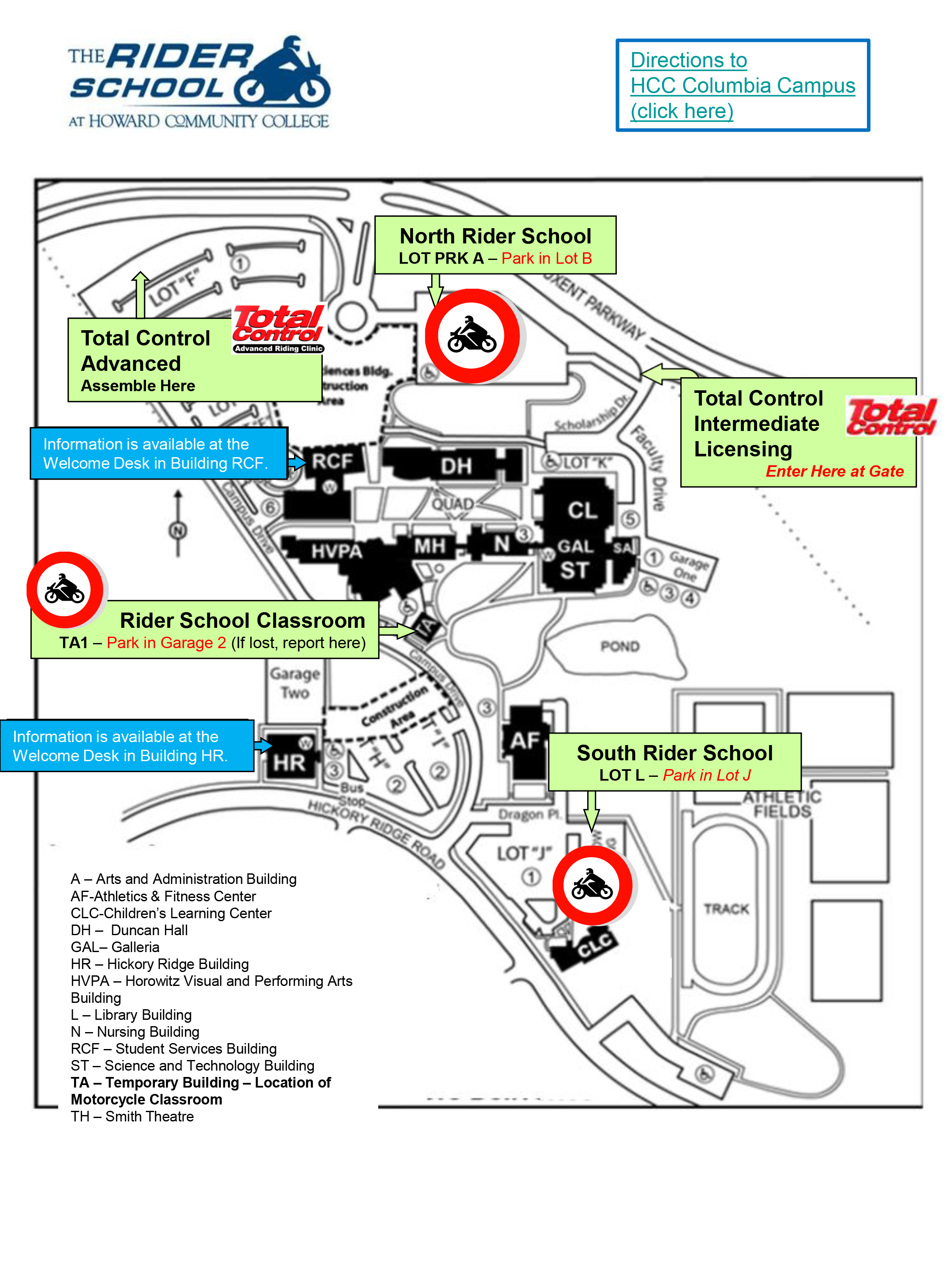 General Information Map Howard Community College